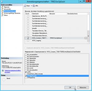 Auf die Portal-Content-DB mit der DB-Rolle SPDataAccess berechtigen