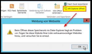 Mit Explorer öffnen - Meldung von Webseite - Beim Öffnen dieses Speicherorts im Datei-Explorer liegt ein Problem vor.