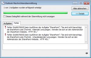 Outlook-Nachrichtenübermittlung Fehler (0x800700005)