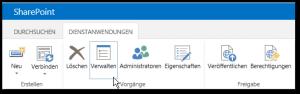 Dienstanwendungen verwalten - Verwalten Button - SharePoint 2013