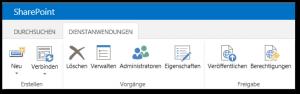SharePoint Dienstanwendungen Menüband