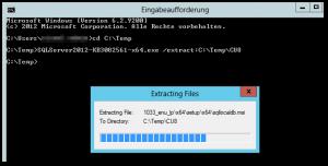 CMD - Eingabeaufforderung - SQLServer2012 - Extract CU8