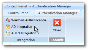 DocAve - Control Panel - Authentication Manager - AD Integration Button