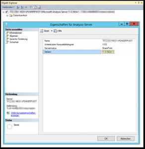 Eigenschaften für Analysis-Server - POWERPIVOT Instanz - Version