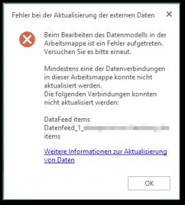 Fehler bei der Aktualisierung der externen Daten - Mindestens eine der Datenverbindungen in dieser Arbeitsmappe konnte nicht aktualisiert werden.