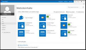 My-Site - Websiteinhalte - Neu Aufgaben, Kalender, Websiteobjekte - SharePoint 2013