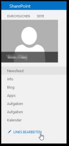 My-Site - linke Navigation - LINKS BEARBEITEN Button - SharePoint 2013