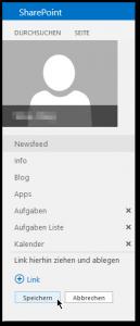 My-Site - linke Navigation - Speichern Button - SharePoint 2013