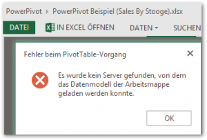 PowerPivot - Fehler beim PivotTable-Vorgang - Es wurde kein Server gefunden, von dem das Datenmodell der Arbeitsmappe geladen werden konnte - Excel Services. We cannot locate a server to load the workbook Data Model