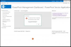 PowerPivot-Management-Dashboard - Excel Services - Ein unbekanntes Problem ist aufgetreten - Fehler