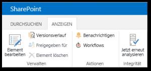 Probleme und Lösungen überprüfen - Element bearbeiten - Versionsverlauf - Jetzt erneut analysieren - Menü Buttons - Health Analyzer - SharePoint 2013