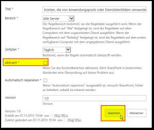 Probleme und Lösungen überprüfen - Regel deaktiviert - Health Analyzer - SharePoint 2013