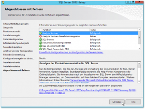 SQL Server 2012-Setup - Analysis Services-SharePoint-Integration Fehler
