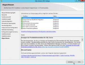 SQL Server 2012-Setup - Erfolgreich Abgeschlossen