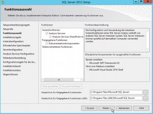 SQL Server 2012-Setup - Funktionsauswahl - Analysis Services-SharePoint