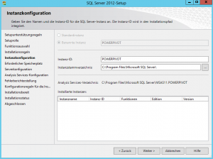 SQL Server 2012-Setup - Instanzkonfiguration - Instanz-ID - POWERPIVOT