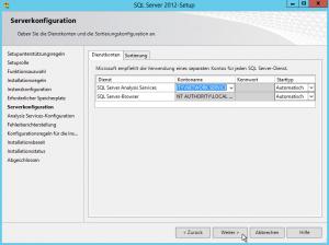 SQL Server 2012-Setup - Serverkonfiguration - Dienstkonten