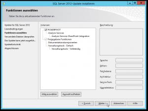 SQL Server 2012-Update installieren - CU8 - Funktionen auswählen - PowerPivot