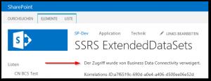SharePoint 2013 BDC Fehler - Der Zugriff wurde von Business Data Connectivity verweigert