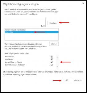 SharePoint 2013 BDC externer Inhaltstyp bzw. external content type Objektberechtigungen festlegen
