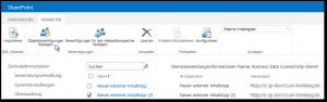 SharePoint 2013 BDC externer Inhaltstyp bzw. external content type Objektberechtigungen festlegen Button