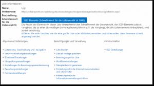 SharePoint 2013 - Listeneinstellungen - Listeninformationen - Die Anzahl der Elemente in dieser Liste überschreitet den Schwellenwert der Listenansicht, der 5000 Elemente zulässt