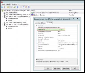 Sql Server Configuration Manager - Eigenschaften von SQL Server Analysis Services (POWERPIVOT) - Dateiversion