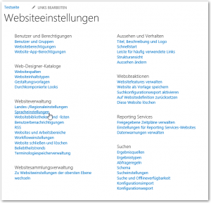 Websiteeinstellungen - Websiteverwaltung - Spracheinstellungen Link - SharePoint 2013