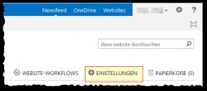 Websiteinhalte - Einstellungen Button - SharePoint 2013