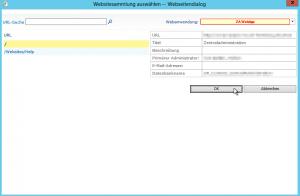 Websitesammlungsadministratoren ändern - Websitesammlung auswählen -- Webseitendialog - Zentraladministration - SharePoint 2013