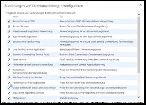 ZA - Anwendungsproxygruppe - Zuordnung von Dienstanwendungen konfigurieren - Gruppe benutzerdefiniert - PowerPivot Service Application Proxy