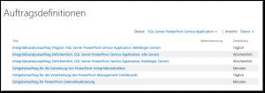 Zentraladministration - Überwachung - Auftragsstatus überprüfen - Auftragsdefinitionen SQL Server PowerPivot Service Application (Timer Jobs) - SharePoint 2013