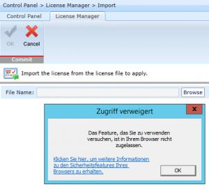 Zugriff verweigert - Das Feature, das Sie zu verwenden versuchen, ist in Ihrem Browser nicht zugelassen