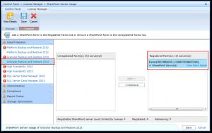 DocAve 6 - Control Panel - License Manager - SharePoint Server Usage - Granular Backup and Restore 2013 - Registered Farms