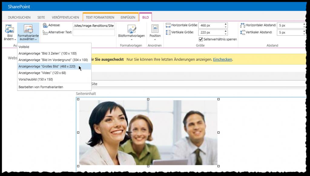 Image Renditions - Bild einfügen - Formatvariante auswählen - SharePoint 2013
