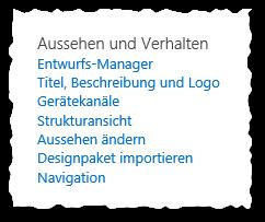 Websiteeinstellungen - Aussehen und Verhalten - SharePoint 2013