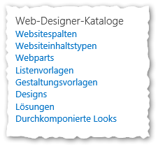 Websiteeinstellungen - Sitecollection Ebene - Web-Designer-Kataloge - Wbsitespalten - Websiteinhaltsypen - Webparts - Listenvorlagen - Gestaltungsvorlagen - Designs - Lösungen - Durchkomponierte Looks - SharePoint 2013