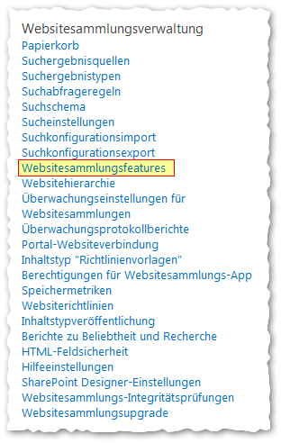 Websiteeinstellungen - Websitesammlungsverwaltung - Websitesammlungsfeatures Button - SharePoint 2013