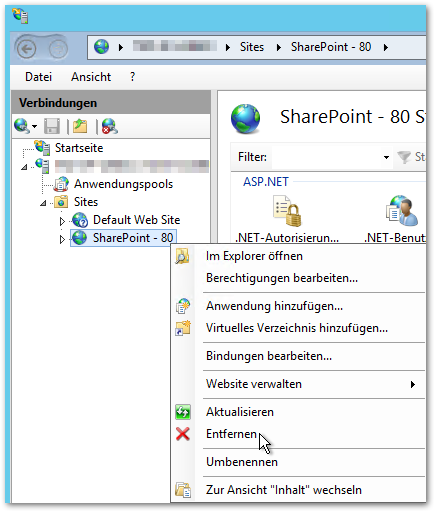 Internetinformationsdienste (IIS)-Manager - SharePoint-Sites entfernen