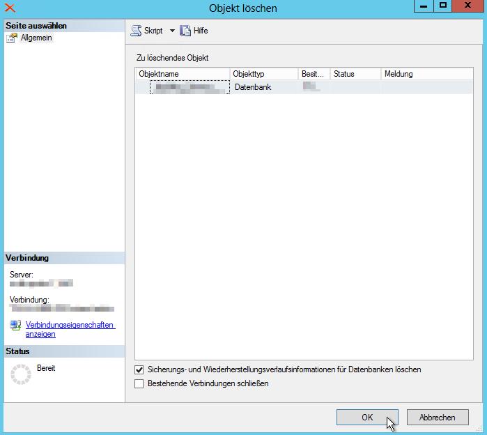 SQL Management Studio - Objekt löschen - Sicheruhngs- und Wiederherstellungsverlaufsinformationen für Datenbanken löschen