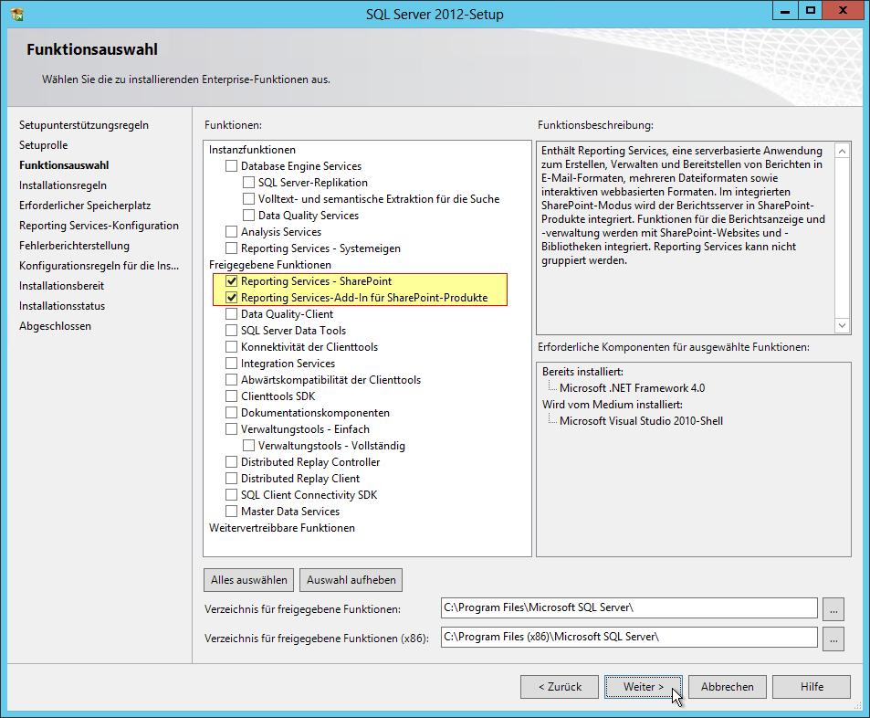 SQL Server Reporting Services Installation im SharePoint Mode - SQL Server 2012 - Setup - Funktionsauswahl - Freigegebene Funktionen - Reporting Services - SharePoint - Reporting Services-Add-In für SharePoint-Produkte