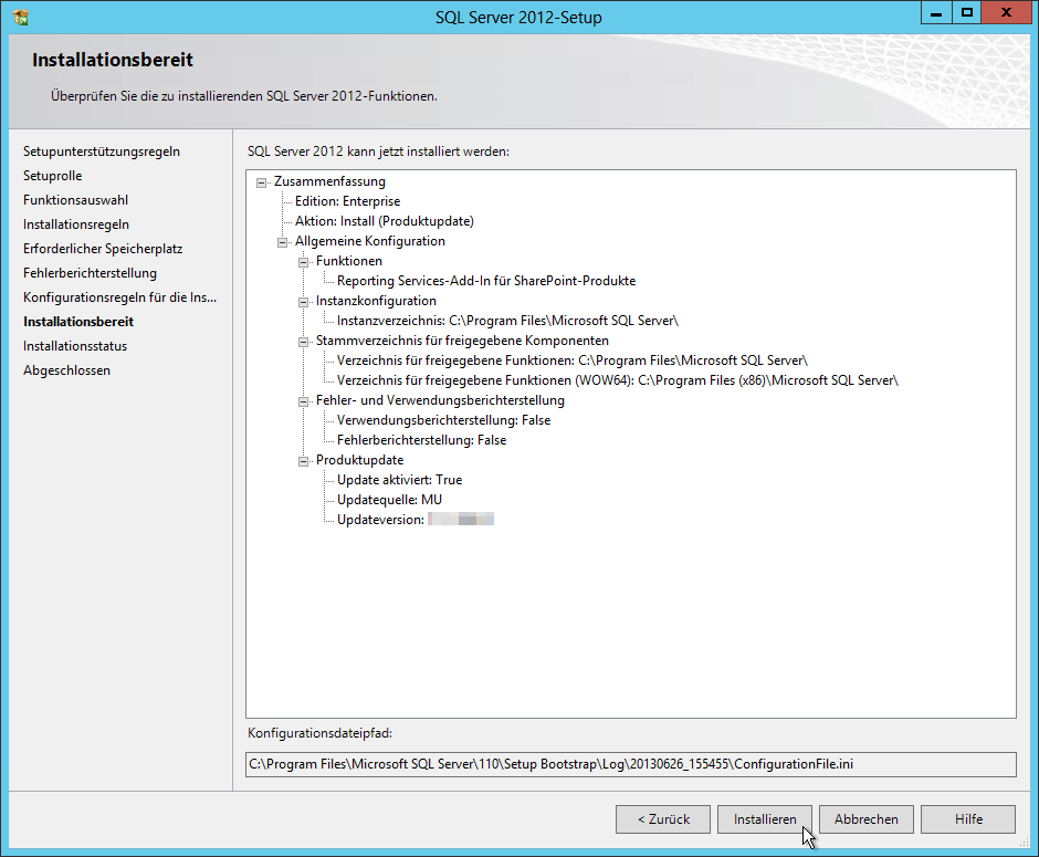 SQL Server 2012 - Setup - Installationsbereit - Zusammenfassung - 1 Funktion - SQL Server Reporting Services Installation im SharePoint Mode