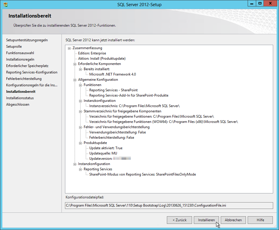SQL Server 2012 - Setup - Installationsbereit - Zusammenfassung - 2 Funktionen - SQL Server Reporting Services Installation im SharePoint Mode
