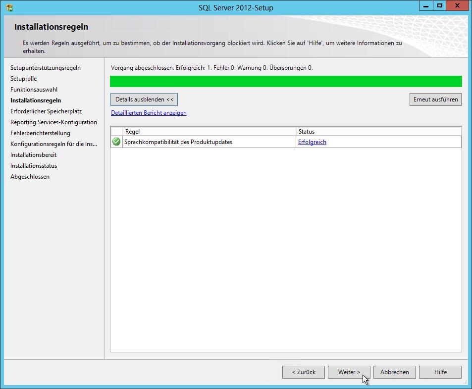 SQL Server 2012 - Setup - Installationsregeln - Sprachkompatibilität des Produktupdates - Erfolgreich - SQL Server Reporting Services Installation (SharePoint Mode)