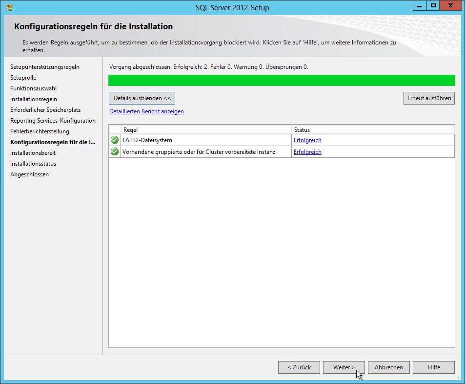 SQL Server 2012 - Setup - Konfigurationsregeln für die Installation - Erfolgreich 2 - SQL Server Reporting Services Installation (SharePoint Mode)