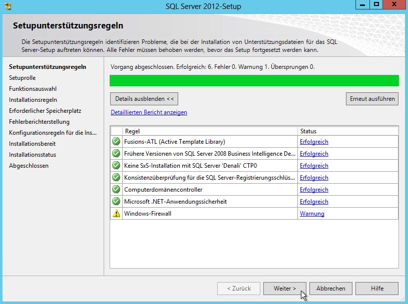 SQL Server 2012 - Setup - Neue eigenständige SQL Server-Installation - Setupunterstützungsregeln - Windows-Firewall Warnung