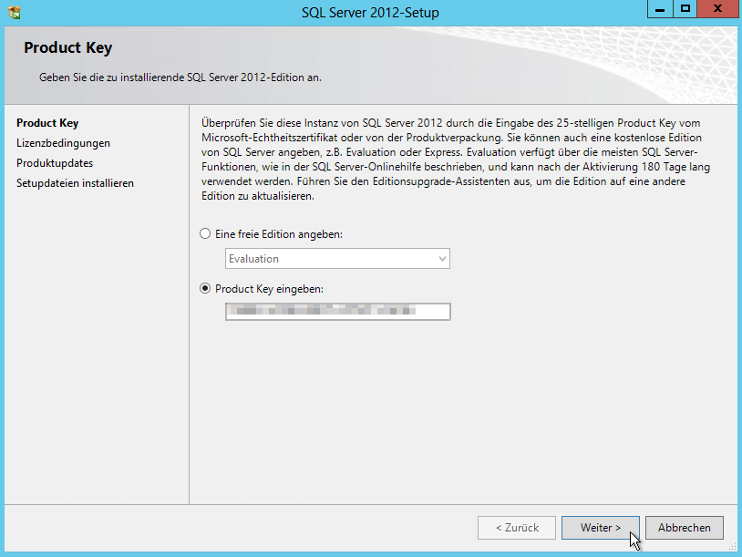 SQL Server 2012 - Setup - Product Key eingeben