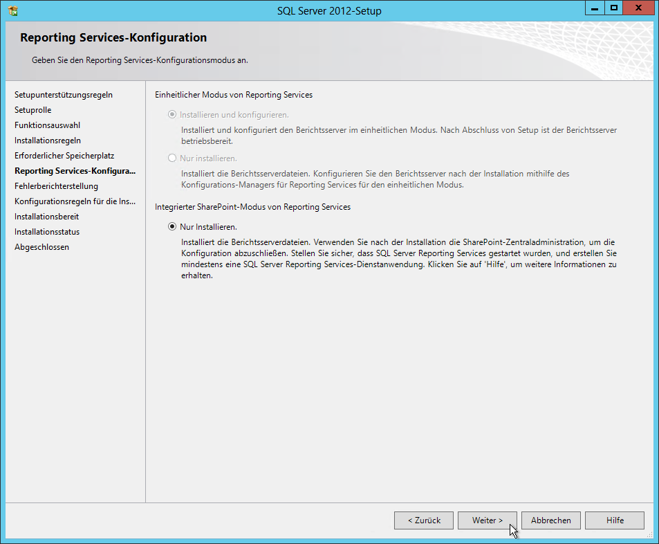 SQL Server 2012 - Setup - Reporting Services-Konfiguration - Integrierter SharePoint-Modus von Reporting Services - Nur Installieren - SQL Server Reporting Services Installation (SharePoint Mode)