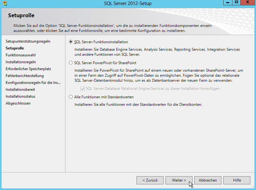 SQL Server 2012 - Setup - Setuprolle - SQL Server-Funktionsinstallation - Radio Button