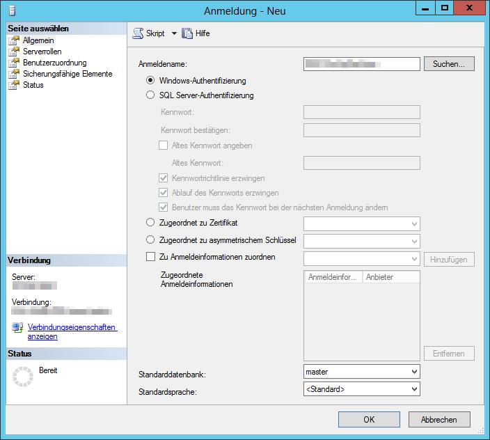 SSMS - SQL Server Management Studio 2012 - Anmeldung - Neu - Allgemein - Windows-Authentifizierung